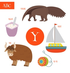 Letter Y Cartoon alphabet for children Yo-yo yak vector image vector image