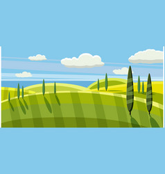 Lovely country rural landscape pasture cartoon vector