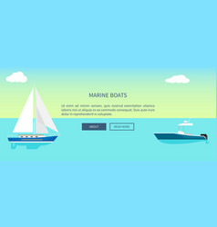 Marine boats web banner with text yacht sailboat vector