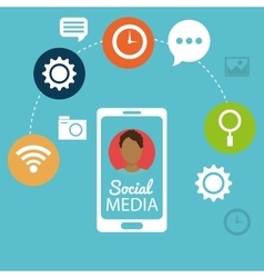 mobile phone man social media networking vector image