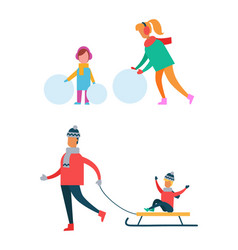 mom and child making snowman father carry sleigh vector image