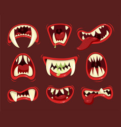Monster angry and hungry mouth with teeth vector