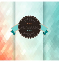 Mosaic background with ribbon and badge in retro vector image