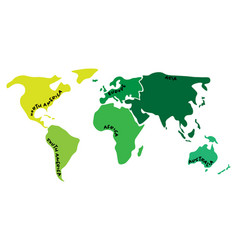 multicolored world map divided to six continents vector image