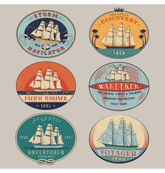 Nautical labels color vector image