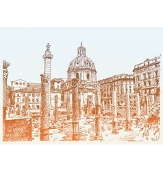 original sketch hand drawing rome italy famous vector image