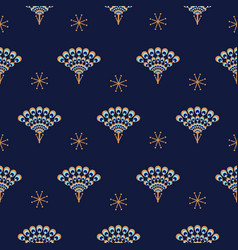Peacock fan seamless blue pattern vector