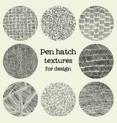 Pen hatch round grunge textures vector