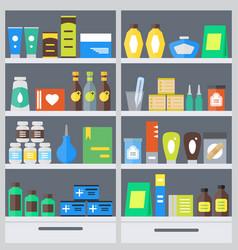 Pharmacy shelves background vector