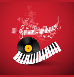 piano keyboard with lp vinyl record and staff on vector image