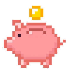 Piggy bank money pixel art cartoon retro game vector