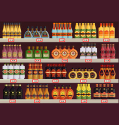 Pub or tavern alcohol shop or store stall stand vector