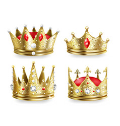 Realistic crowns kings and queens golden royal vector