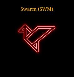 Red neon swarm swm cryptocurrency symbol vector