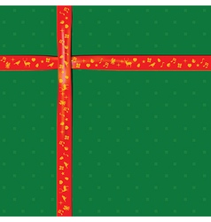 Red ribbon on green color paper for christmas vector