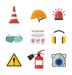 Safety work icons flat style vector image