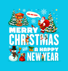 santa snowman with christmas tree and gifts vector image