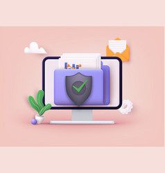 secure confidential files folder with paper vector image