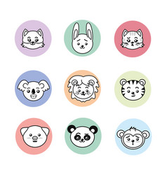 set cute and tender animals with expressions vector image