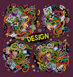 set design theme items vector image