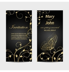 Set of wedding invitation cards design vector