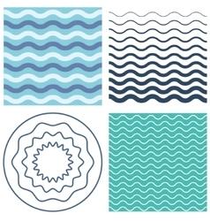 Set wave pattern and wavy circle vector