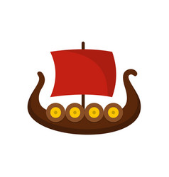 ship viking icon flat style vector image