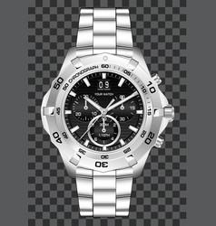 silver watch clock chronograph luxury vector image