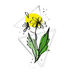 sketch a flower with geometric shapes vector image
