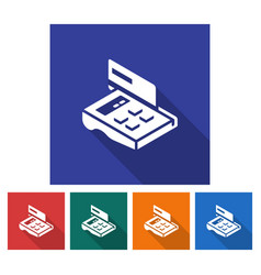 Square icon of pos-terminal with credit card flat vector