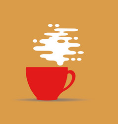 Steaming coffee cup design on yellow background vector