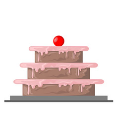 strawberry birthday cake vector image