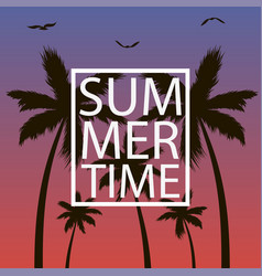summer time - card with palm trees gull and frame vector image