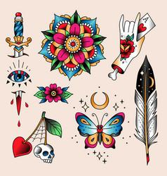 tattoo set symbols vector image
