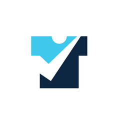 tee t shirt check logo icon vector image