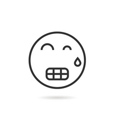 tense thin line emoji icon with shadow vector image