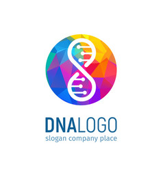 The logo of the dna in circle with a polygonal vector