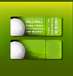 Ticket on premier league of volleyball vector