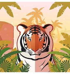 tiger on jungle background vector image
