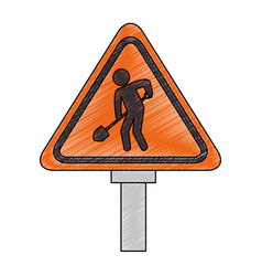 traffic signal road under construction vector image
