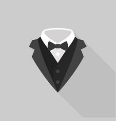 Tuxedo with bow tie icon vector