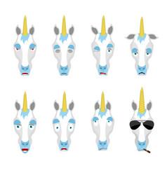 Unicorn set emoji avatar sad and angry face vector