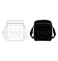 Urban teenager shoulder bag with print contour vector image