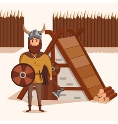Viking with helmet horns and axe shield near vector image