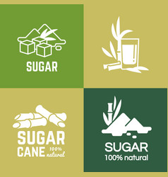 white sugar labels logo design cane and vector image