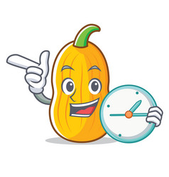 With clock butternut squash character cartoon vector