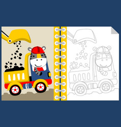 Work zone with funny worker cartoon coloring book vector