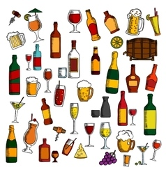 Alcohol drinks cocktails with snacks sketch icon vector image vector image