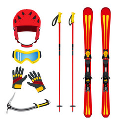 equipment for skiing snowboarding mountain hiking vector image vector image