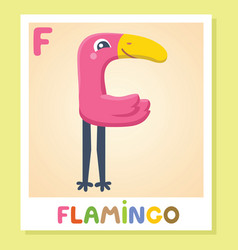 f is for flamingo letter f flamingo cute vector image vector image